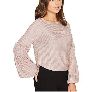 1.STATE Long Sleeve Smocked Rib Knit Top Blouse S